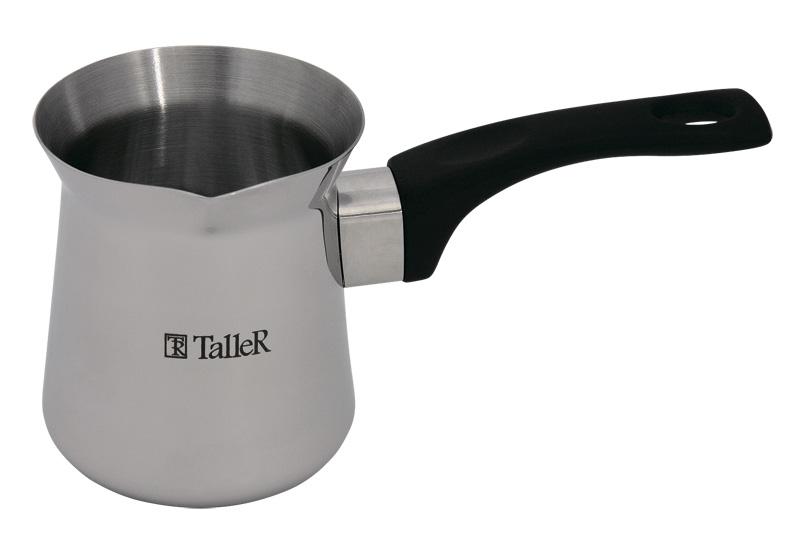 Турка Taller Джеки, 500 млTR-1333Турка для варки кофе Taller Джеки изготовлена из нержавеющей стали 18/10. Внешняя поверхность имеет зеркальную полировку, что придает изделию стильный внешний вид. Внутренняя матовая поверхность устойчива к царапинам. Турка оснащена небольшим носиком и удобной ненагревающейся бакелитовой ручкой с петелькой для подвешивания. Надежное крепление ручки гарантирует безопасное использование. Такая турка будет красивым дополнением в вашем уютном доме. Подходит для всех типов плит, кроме индукционных. Можно мыть в посудомоечной машине.Объем: 500 мл. Диаметр (по верхнему краю): 8,1 см. Высота стенки: 10,1 см. Длина ручки: 13 см.Толщина стенок: 0,8 мм.