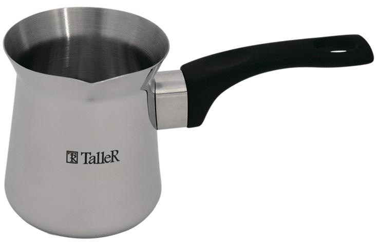 Турка Taller Джеки, 700 млTR-1334Турка для варки кофе Taller Джеки изготовлена из нержавеющей стали 18/10. Специальная форма позволяет удобно сливать жидкость. Внешняя поверхность имеет зеркальную полировку, что придает изделию стильный внешний вид. Внутренняя матовая поверхность устойчива к царапинам. Ручка изготовлена из бакелита. Надежное крепление ручки гарантирует безопасное использование. Такая турка будет красивым дополнением в вашем уютном доме. Можно использовать на всех видах плит, кроме индукционных. Можно мыть в посудомоечной машине.Объем: 700 мл. Диаметр (по верхнему краю): 9 см. Высота стенки: 11 см. Длина ручки: 13 см.