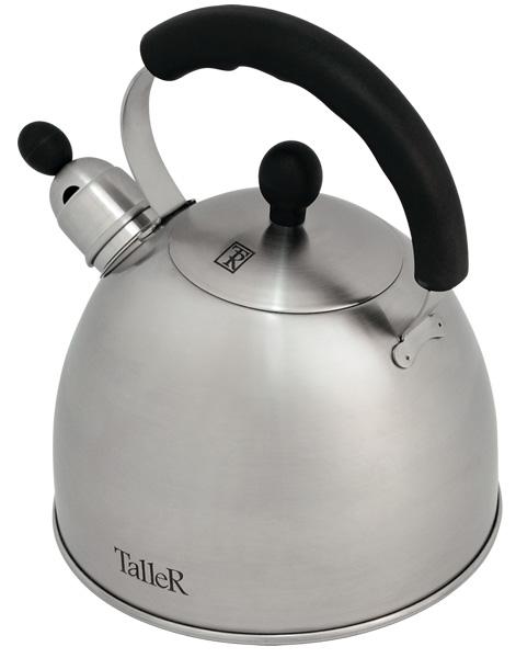 Чайник Taller Norman со свистком, 2,5 л. TR-1342TR-1342Чайник Taller Norman выполнен из высококачественной нержавеющей стали, что обеспечивает долговечность использования. Ручки чайника и крышки выполнены из бакелита, благодаря чему они не нагреваются, что придает большую комфортность в использовании. Внешнее матовое покрытие придает приятный внешний вид. Чайник снабжен свистком, закипание сопровождается звуковым сигналом. На внешней поверхности имеется удобная отметка литража. Капсулированное дно с алюминиевой вставкой обеспечивает идеальное распределение тепла. Чайник Taller Norman пригоден для мытья в посудомоечной машине. Подходит длявсехвидов плит, включая индукционные.