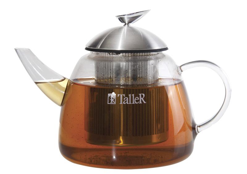 Чайник заварочный Taller Walter, 1,2 лTR-1348Заварочный чайник Taller Walter изготовлен из термостойкого стекла. Крышка и съемный фильтр выполнены из высококачественной нержавеющей стали 18/10. Крышка имеет матовую поверхность и оснащена силиконовой вставкой для герметичного закрывания. Чайник идеален для приготовления кофе, чая, тонизирующих и расслабляющих напитков. Съемный фильтр для заваривания удобен в использовании. Разборная конструкция позволяет легко мыть чайник. В наборе имеется инструкция по уходу и эксплуатации.Подходит для мытья в посудомоечной машине.Диаметр чайника (по верхнему краю): 7 см. Высота чайника (без учета крышки): 12,5 см. Диаметр дна чайника: 13 см. Высота ситечка: 9,8 см.