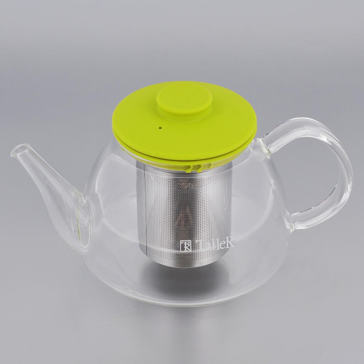 Чайник заварочный Taller Winfred, цвет: салатовый, 0,8 лTR-1361Чайник заварочный Taller Winfred изготовлен из жаропрочного боросиликатного стекла - прочного износостойкого материала. Чайник оснащен металлическим фильтром и силиконовой крышкой.Простой и удобный чайник поможет вам приготовить крепкий, ароматный чай. Дизайн изделия создает гипнотическую атмосферу через сочетание полупрозрачного цвета и хромированных элементов. Можно мыть в посудомоечной машине.Диаметр дна: 11,5 см.Высота (без учета крышки): 9 см.Высота фильтра: 8,5 см.