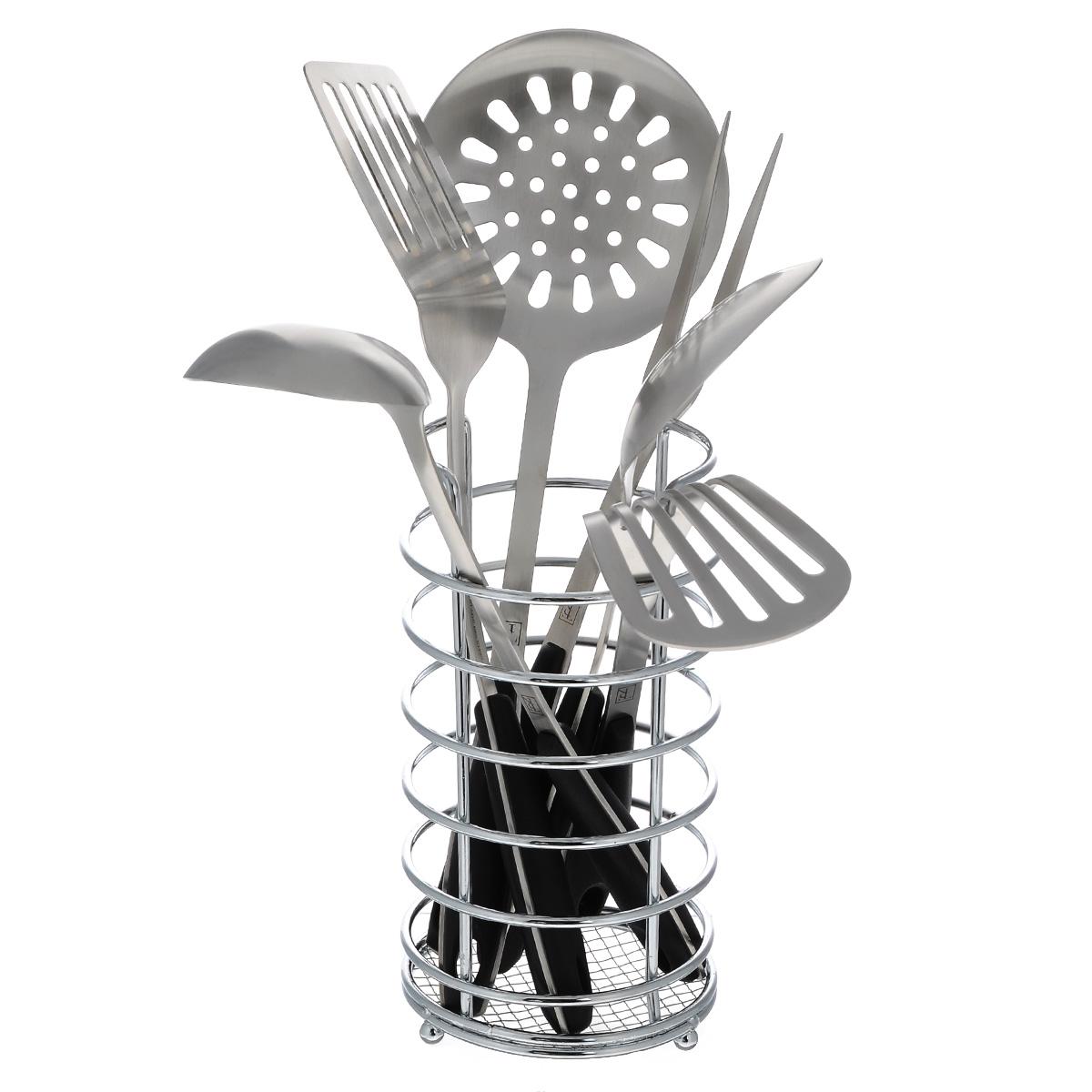 Набор кухонных принадлежностей Taller Кингсли, 7 предметовTR-1405Набор кухонных принадлежностей Taller Кингсли включает в себя: картофелемялку, половник, ложку поварскую, шумовку, вилку поварскую, лопатку перфорированную, подставку. Предметы набора выполнены из высококачественной нержавеющей стали 18/10. Ручки выполнены из бакелита и оснащены отверстиями на конце, благодаря которым, вы сможете их подвесить на подставку или в любое для вас удобное место. Эксклюзивный дизайн, эстетичность и функциональность набора Taller Кингсли позволят ему занять достойное место среди кухонного инвентаря.Рекомендована ручная мойка.