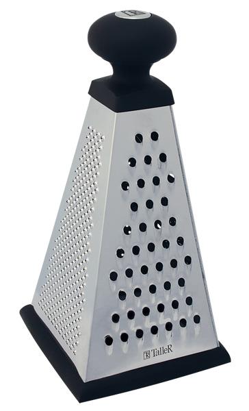 Терка четырехгранная Taller Stella, высота 25,5 смTR-1901Четырехгранная терка Taller Stella выполнена из высококачественной нержавеющей стали. Сверху на терке находится силиконовая ручка удобной формы, которая даже при намокании не выскальзывает из рук. Всего 4 вида лезвий: крупная терка, мелкая терка, шинковка и шредер. Нескользящий силиконовый протектор на основании предотвращает скольжение во время использования и защищает поверхность от повреждений. Каждая хозяйка оценит все преимущества этой терки. Очень практичный и современный дизайн делает изделие весьма простым в эксплуатации.Можно мыть в посудомоечной машине при температуре 65°С.