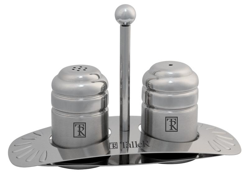 Набор для специй Taller Элвуд, 3 предметаTR-2123Набор для специй Taller Элвуд состоит из солонки, перечницы и подставки. Емкости выполнены извысококачественной нержавеющей стали 18/10 с пластиковым основанием. Набор для специй Taller Элвуд прекрасно оформит кухонный стол и станет незаменимымаксессуаром на любой кухне.Высота емкости: 5,5 см.Диаметр основания: 3,3 см. Размер подставки (ДхШхВ): 13 см х 6 см х 8,5 см.