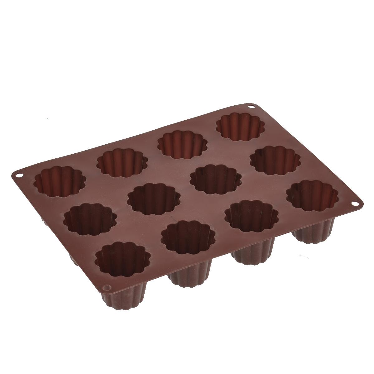 Форма для выпечки Taller Кекс, цвет: коричневый, 12 ячеекTR-6211Форма для выпечки Taller Кекс изготовлена извысококачественного силикона. Изделия из силиконавыдерживают температуру от -20°С до +220°С, оченьудобны в использовании: пища в них не пригорает и неприлипает к стенкам, форма легко моется. Формаобладает эластичными свойствами: складывается безизломов, восстанавливает свою первоначальную форму. Форма содержит 12 одинаковых ячеек. Порадуйте своихродных и близких любимой выпечкой в необычномисполнении.Подходит для приготовления в микроволновой печи идуховом шкафу при нагревании до +220°С; длязамораживания до -20°С и чистки в посудомоечноймашине.Размер формы: 29 х 22 см. Размер ячейки: 5,2 х 5,2 см. Высота стенок: 5 см. Количество ячеек: 12 шт.