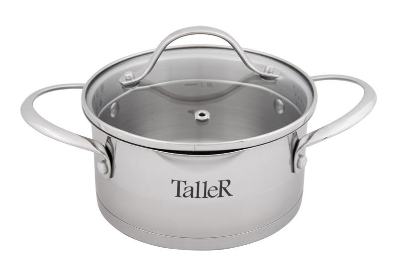 Кастрюля Кэтлин 1.5 лиз нержавеющей стали TalleR (Таллер) (6)TR-7141Кастрюля с крышкой Кэтлин,16х8.0 см (1.5 л) Толщина стенки - 0,6 мм, толщина дна - 3,1 мм. Полировка внешняя - комбинированная, внутренняя - матовая. Комбинированная крышка из нержавеющей стали и жаропрочного стекла. Ручки из нержавеющей стали на клепках. Есть отметки литража.Рекомендации: не рекомендуется использовать в духовом шкафу, подходит для всех типов плит (включая индукционную).
