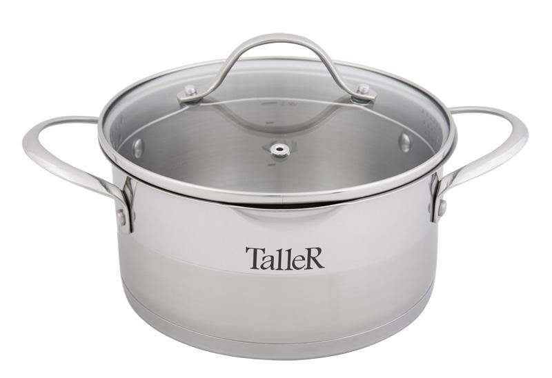 Кастрюля Taller Кэтлин с крышкой, 2,9 лTR-7143Кастрюля Taller Кэтлин изготовлена из высококачественной нержавеющей стали 18/10. Комбинация зеркальной и матовой полировки придает посуде стильный внешний вид. Удобные отметки литража на внутренней поверхности посуды позволяют не использовать при приготовлении дополнительную мерную посуду. Капсулированное дно с алюминиевой вставкой обеспечивает идеальное распределение тепла. Комбинированная крышка из нержавеющей стали и жаропрочного стекла позволяет следить за процессом приготовления, не открывая крышки. Специальное отверстие для выхода пара позволяет готовить с закрытой крышкой, предотвращая выкипание. Особенная конструкция крышки с двусторонней перфорацией различного диаметра и специальная форма краев кастрюли позволяют легко сливать жидкость. Ручки изготовлены из высококачественной нержавеющей стали. Надежное крепление ручек гарантирует безопасное использование. Подходит для всех типов плит, включая индукционные. Не использовать в духовом шкафу. Можно мыть в посудомоечной машине.Высота стенки: 10,5 см. Толщина стенки: 0,6 мм. Толщина дна: 3,1 мм. Ширина кастрюли (с учетом ручек): 31 см. Диаметр дна: 19,5 см.