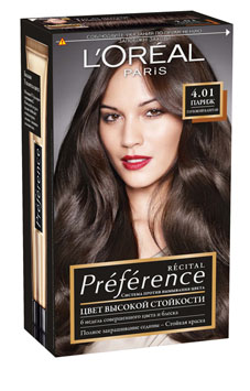 """L'Oreal Paris Стойкая краска для волос """"Preference"""", оттенок 4.01, Париж"""