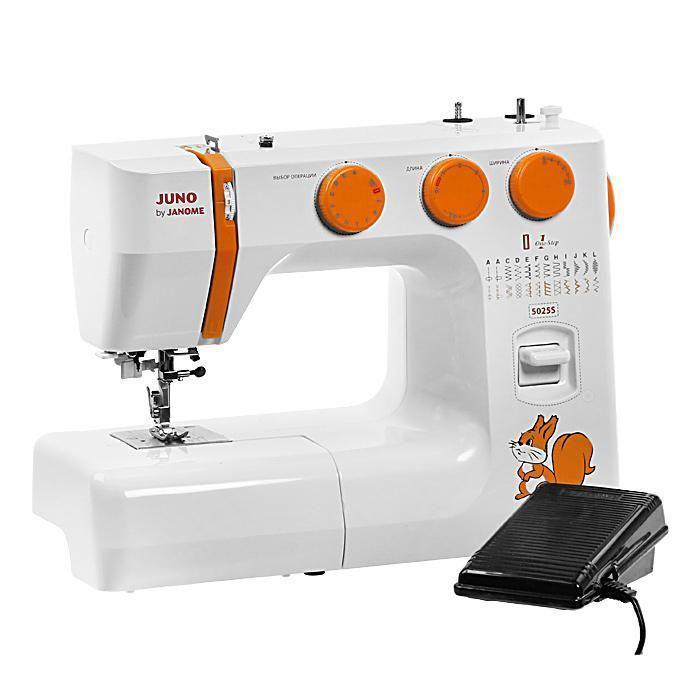 Janome Juno 5025S швейная машина5025SШвейная машина выполняет множество рабочих операций, среди которых выметывание петель в автоматическом режиме, гофрирующая строчка, потайная строчка и многие другие. Помимо этого, модель позволяет шить двойной иглой, что является удобной функцией для декоративных швов. Благодаря качающемуся челноку и мощному нижнему транспортеру швейная машинка справляется даже с плотными тканями.В машинке 24 вида строчек. Путем регулировок можно каждую строчку менять по длине и ширине.