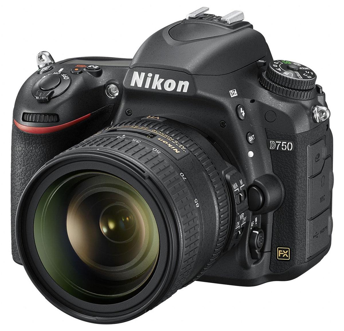 Nikon D750 Kit 24-85 VR, Black цифровая зеркальная фотокамераVBA420K001Раскройте свое видение мира благодаря универсальной модели Nikon D750 с гибкими настройками и высокой скоростью съемки. Откройте для себя мир неограниченных возможностей: дерзайте и побеждайте с помощью полнокадровой 24,3-мегапиксельной фотокамеры.Новая конструкция матрицы формата FX обеспечивает исключительное качество изображения и как никогда четкие результаты при больших значениях чувствительности ISO. Феноменально точная автофокусировка, высокая скорость серийной съемки (6,5 кадра в секунду), возможность записи видеороликов в формате Full HD (1080/60p) и наклонный экран предоставляют фотографу полную свободу для творчества. Используйте встроенный модуль Wi-Fi и мгновенно делитесь впечатляющими снимками.Система АФ Multi-CAM 3500FX с 51-й точкой гарантирует превосходную точность на всех участках полнокадрового снимка. Система обеспечивает переключение между 9-, 21- и 51-точечным покрытием кадра и сохраняет чувствительность вплоть до -3 EV (ISO 100, 20 °C). Быстрая блокировка и расширенная функциональность «Сохранение по ориентации». Пятнадцать датчиков перекрестного типа в центре совместимы с объективами AF NIKKOR, имеющими диафрагму f/5,6 или более светосильными, а 11 центральных точек фокусировки работают с диафрагмой f/8.В режиме групповой АФ непрерывно осуществляется мониторинг пяти разных областей АФ, а также обеспечиваются быстрое наведение на объект съемки и улучшенная изоляция фона в случае съемки сравнительно небольших объектов на высококонтрастном или отвлекающем фоне. 5-точечную зону АФ можно перемещать в пределах 51?точечного массива в соответствии с компоновкой кадра.Фотокамера поддерживает разные кадровые форматы для трансляции качественного D-видео, позволяющие вести съемку видеороликов в различных условиях. Фотокамера D750 записывает видеоролики Full HD (1080p) в форматах FX и DX с частотой кадров 50p/60p; при этом уровень шума, муара и искажения цветов намного ниже. Эта модель