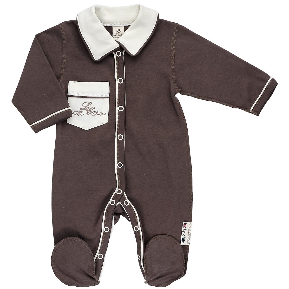 Комбинезон для мальчика Lucky Child, цвет: кофейный. 20-1. Размер 68/7420-1Детский комбинезон Lucky Child - очень удобный и практичный вид одежды для малышей. Комбинезон выполнен из натурального хлопка, благодаря чему он необычайно мягкий и приятный на ощупь, не раздражает нежную кожу ребенка и хорошо вентилируется, а плоские швы приятны телу ребенка и не препятствуют его движениям.Комбинезон с длинными рукавами, отложным воротничком и закрытыми ножками, выполнен швами наружу. Он застегивается на кнопки от горловины до щиколоток, благодаря чему переодеть младенца или сменить подгузник будет легко.Низ рукавов и планка с кнопками дополнены контрастными вставками. Спереди на комбинезоне имеется накладной кармашек, декорированный вышивкой. Воротник выполнен в контрастном цвете.С детским комбинезоном спинка и ножки вашего ребенка всегда будут в тепле, он идеален для использования днем и незаменим ночью. Комбинезон полностью соответствует особенностям жизни младенца в ранний период, не стесняя и не ограничивая его в движениях!