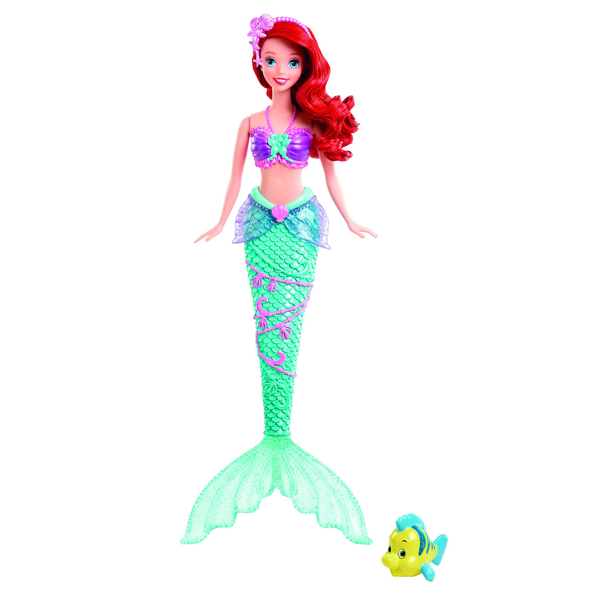 Disney Princess Кукла Русалочка Ариель c фонтанчиком и рыбка Флаундер, Mattel