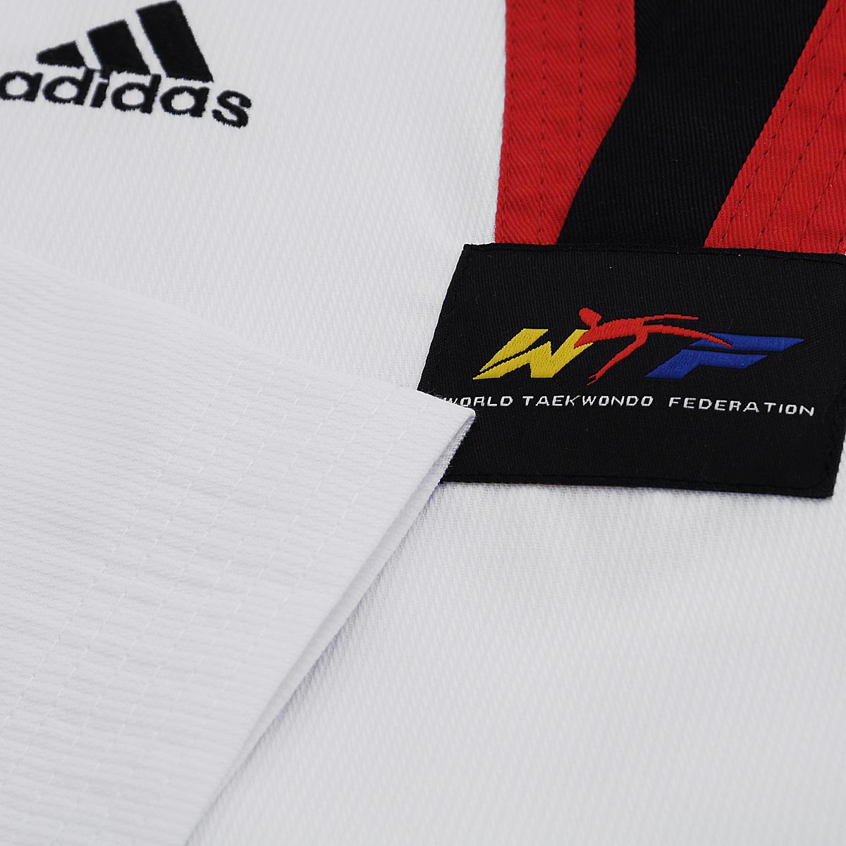 Кимоно для тхэквондо adidas Taekwondo Adi-Start, цвет:  белый, черный, красный.  adiTS01-WH/RD-BK.  Размер 150 Adidas