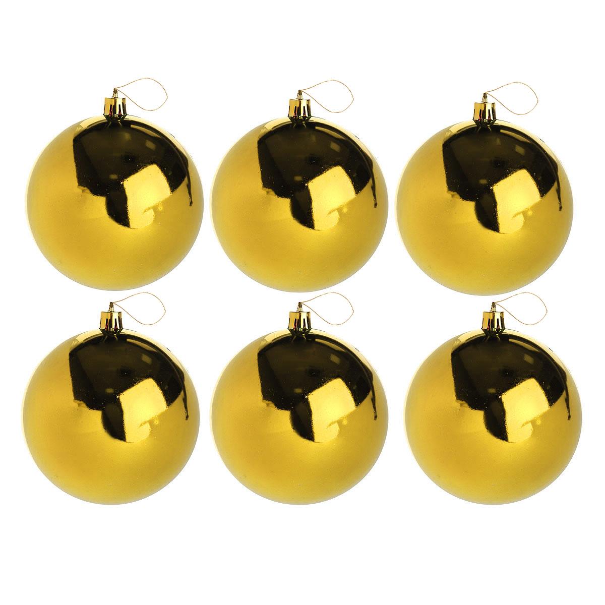 Набор новогодних подвесных украшений Sima-land Шар, цвет: золотистый, диаметр 10 см, 6 шт. 735666 набор однотонных пластиковых шаров 10 см 1глянцевый 1 матовый золотой