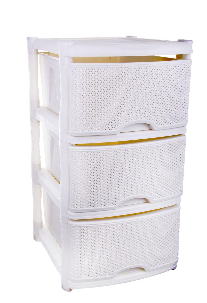Комод Plastic Centre Rattan, цвет: белый, 41 х 48 х 72,3 см145797Комод Plastic Centre Rattan изготовлен из высококачественного экологически безопасного полипропилена. Он предназначен для хранения вещей, детских игрушек, хозяйственных принадлежностей и прочих предметов. Комод состоит из трех вместительных выдвижных ящиков с ручками и оснащен четырьмя ножками. Комод Plastic Centre Rattan надежно защитит ваши вещи от загрязнений, пыли и моли, а также позволит вам хранить их компактно и с удобством.Размер ящиков: 46,7 см х 33,5 см х 19,8 см.