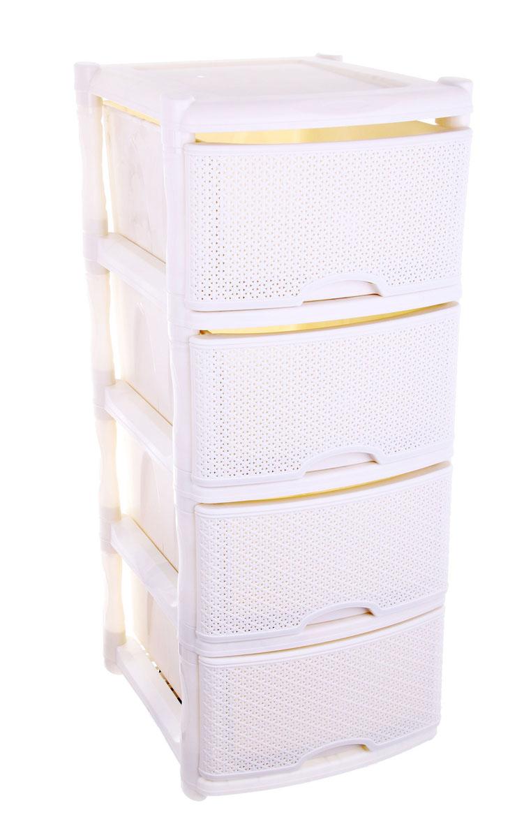 Комод универсальный Plastic Centre Rattan, цвет: айвори, 41 х 48 х 94,5 см0001042.14.3Комод Plastic Centre Rattan изготовлен из высококачественного экологически безопасного полипропилена. Он предназначен для хранения вещей, детских игрушек, хозяйственных принадлежностей и прочих предметов. Комод состоит из четырех вместительных выдвижных ящиков с ручками и оснащен четырьмя ножками.Комод Plastic Centre Rattan надежно защитит ваши вещи от загрязнений, пыли и моли, а также позволит вам хранить их компактно и с удобством. Размер ящиков: 46,7 см х 33,5 см х 19,8 см.