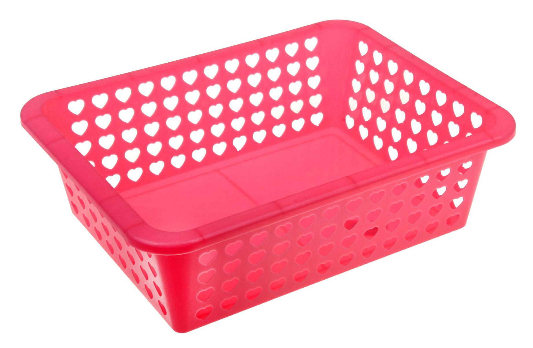 Корзина Альтернатива Вдохновение, цвет: розовый, 39,5 см х 29,7 см х 12 см587074Корзина Альтернатива Вдохновение выполнена из пластика и оформлена перфорацией в виде сердечек. Изделие имеет сплошное дно и жесткую кромку. Корзина предназначена для хранения мелочей в ванной, на кухне, на даче или в гараже. Позволяет хранить мелкие вещи, исключая возможность их потери.
