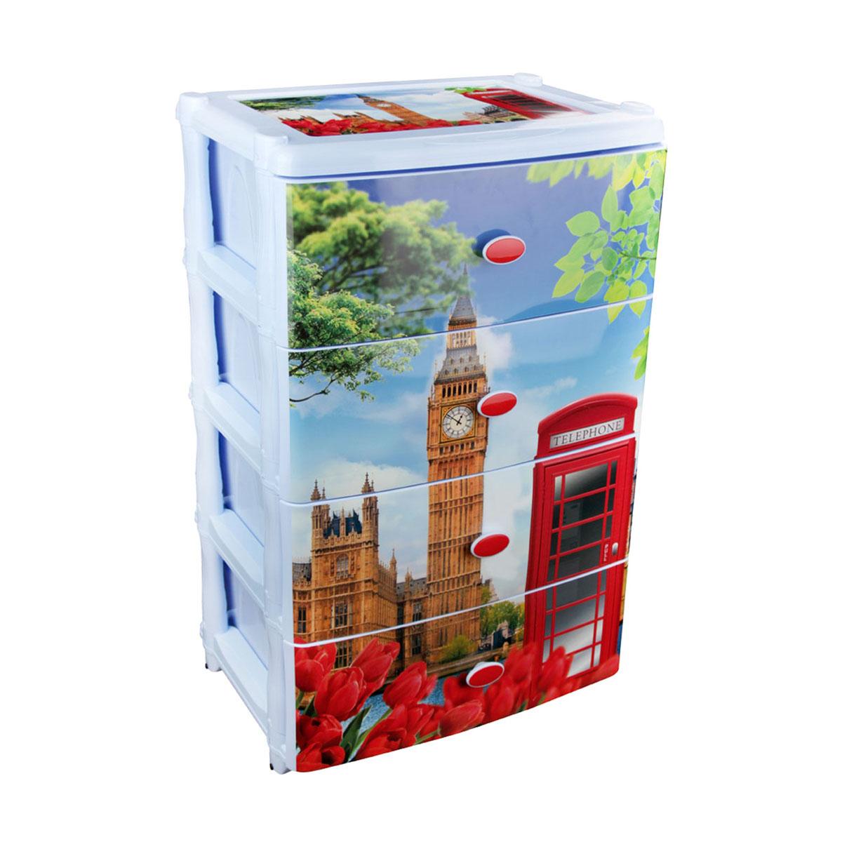 Комод широкий Альтернатива Лондон, 61 см х 41 см х 61 см599016Широкий комод Альтернатива Лондон изготовлен из высококачественного экологически безопасного полипропилена. Он предназначен для хранения вещей, детских игрушек, хозяйственных принадлежностей и прочих предметов. Комод состоит из четырех вместительных выдвижных ящиков с ручками и оснащен четырьмя ножками. Комод Альтернатива Лондон надежно защитит ваши вещи от загрязнений, пыли и моли, а также позволит вам хранить их компактно и с удобством. Размер ящика: 37 см х 30 см х 17 см.