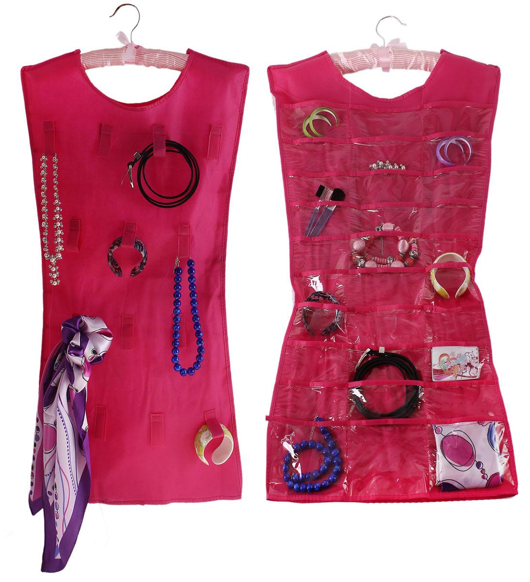 """Оригинальный органайзер """"Sima-land"""", изготовленный из текстиля и ПВХ, предназначен для удобного и компактного хранения бижутерии и других различных украшений. Изделие представляет собой платье, которое можно вешать на вешалку в необходимом для вас месте. Платье с одной стороны оснащено 30 прозрачными карманами, с другой стороны - 14 текстильными петельками.Этот нужный предмет может стать одновременно и декоративным элементом комнаты."""
