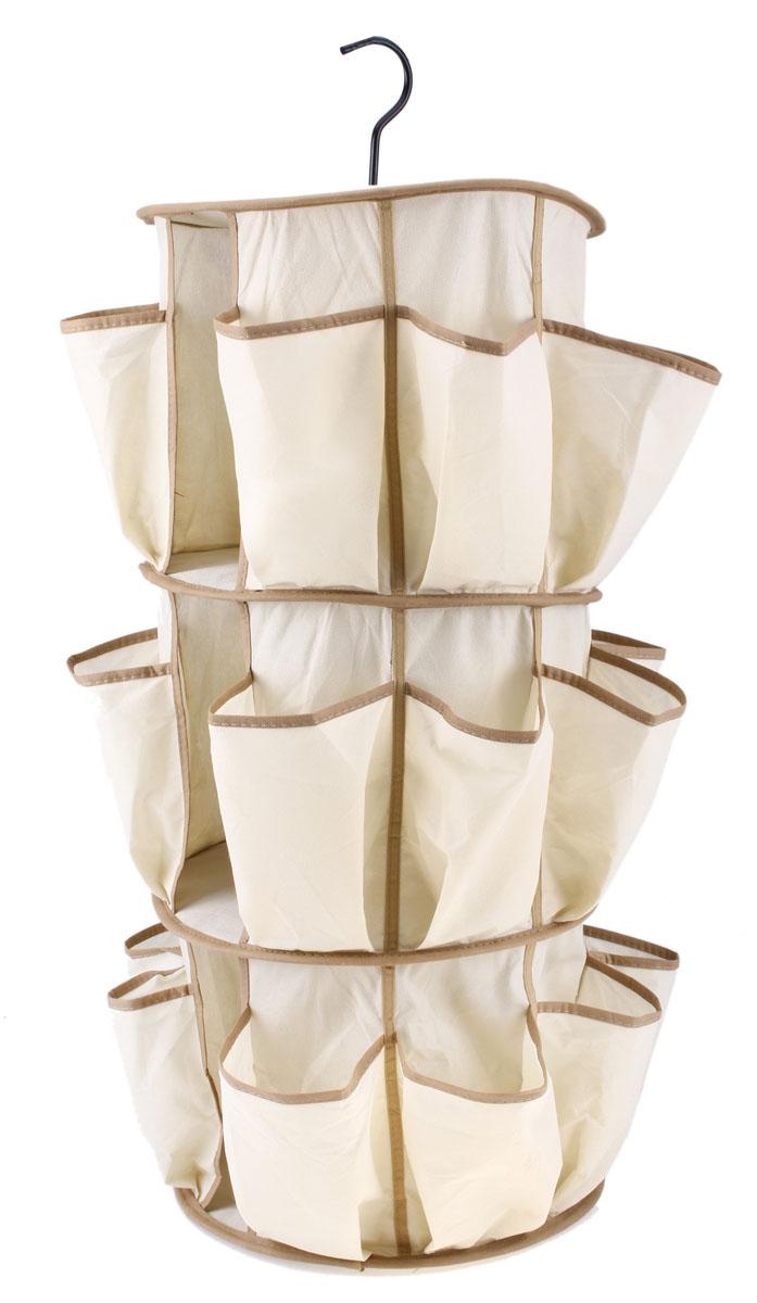 Органайзер для хранения вещей Sima-land с вешалкой, цвет: бежевый, 27 отделений642659Круглый объемный органайзер Sima-land, изготовленный из текстиля, предназначен для хранения необходимых вещей, множества мелочей в гардеробной, ванной, детской комнатах. Изделие представляет собой цилиндр с 3 полками внутри и 24 карманами снаружи. Органайзер можно повесить в необходимом для вас месте благодаря металлической вешалке.Этот нужный предмет может стать одновременно и декоративным элементом комнаты.