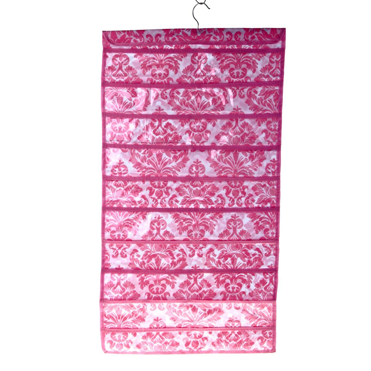 Органайзер для хранения вещей Sima-land с вешалкой, цвет: розовый, 80 отделений. 709827709827Органайзер Sima-land, изготовленный из ПВХ и текстиля, предназначен для хранения необходимых вещей, множества мелочей в гардеробной, ванной, детской комнатах. Изделие представляет собой текстильное полотно с 80 пришитыми кармашками. Благодаря металлической вешалке, органайзер можно подвесить на стену или дверь в необходимом для вас месте.Органайзер декорирован оригинальным цветочным орнаментом.Этот нужный предмет может стать одновременно и декоративным элементом комнаты. Яркий дизайн, как ничто иное, способен оживить интерьер вашего дома.Размер отделений: 11 см х 6 см.