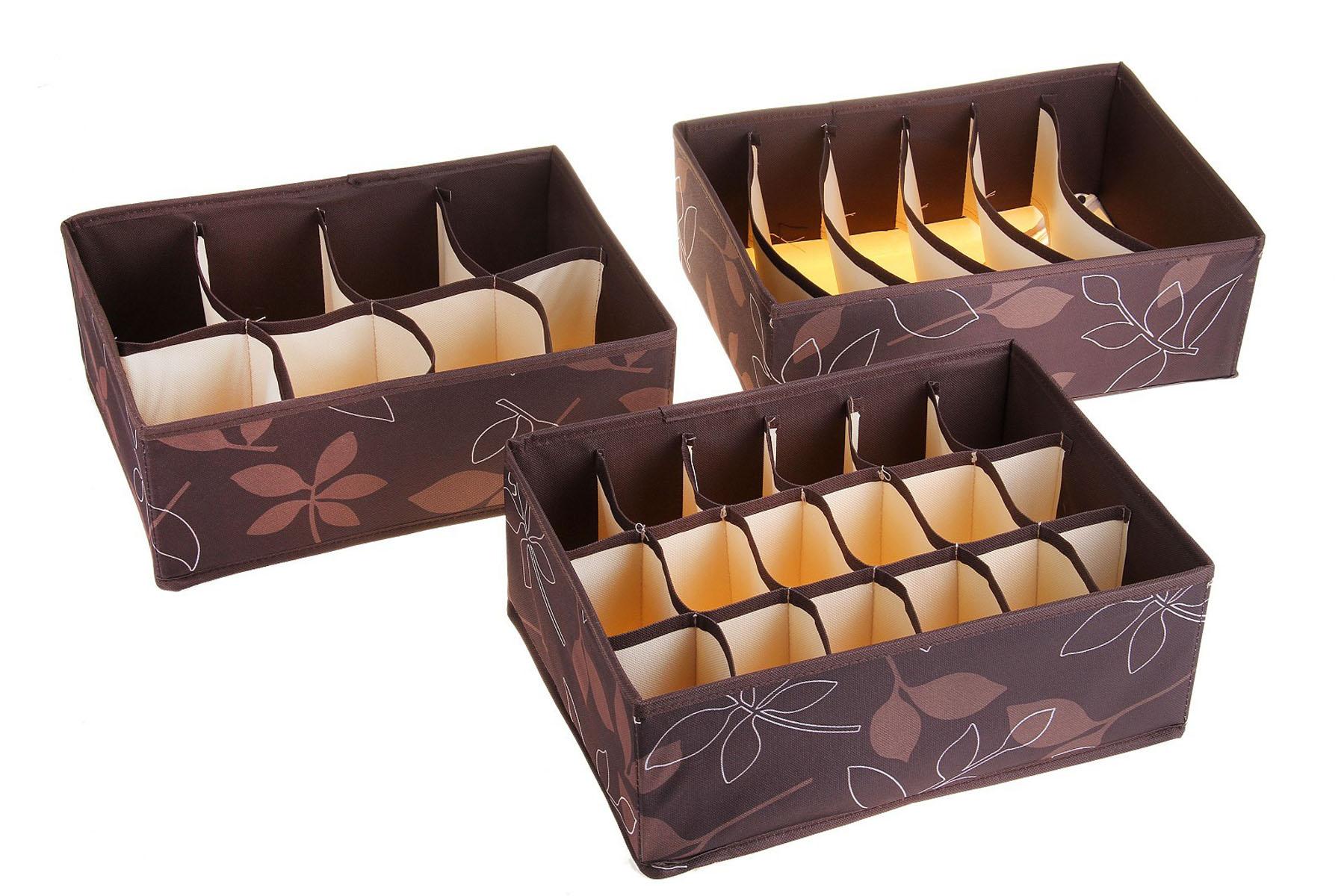 Кофр для мелких вещей Листочки, цвет: коричневый, 32 см х 24 см х 12 см, 3 шт. 760561760561