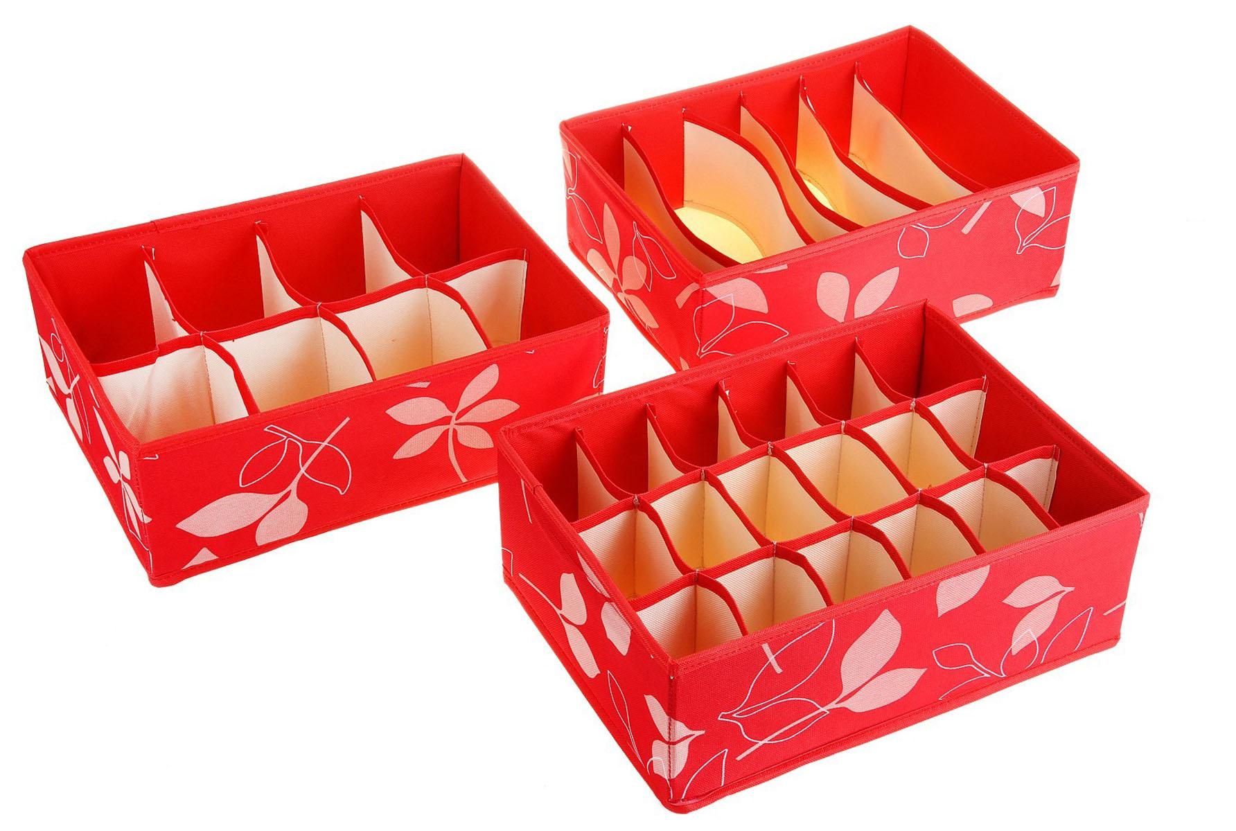 Кофр для мелких вещей Листочки, цвет: красный, 32 х 24 х 12 см, 3 шт760562