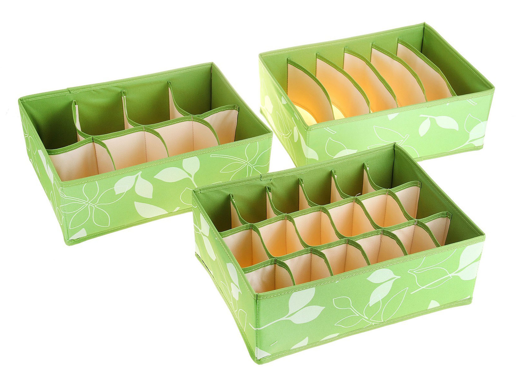 Кофр для мелких вещей Листочки, цвет: зеленый, 32 см х 24 см х 12 см, 3 шт ящик для рыболовных принадлежностей onlitop цвет зеленый черный 38 х 24 х 37 см