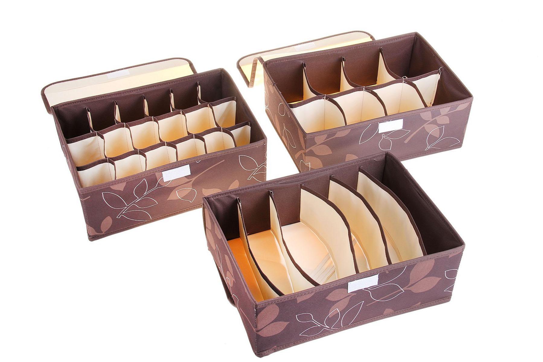 Кофр для мелких вещей Листочки, цвет: коричневый, 32 х 24 х 12 см, 3 шт760567