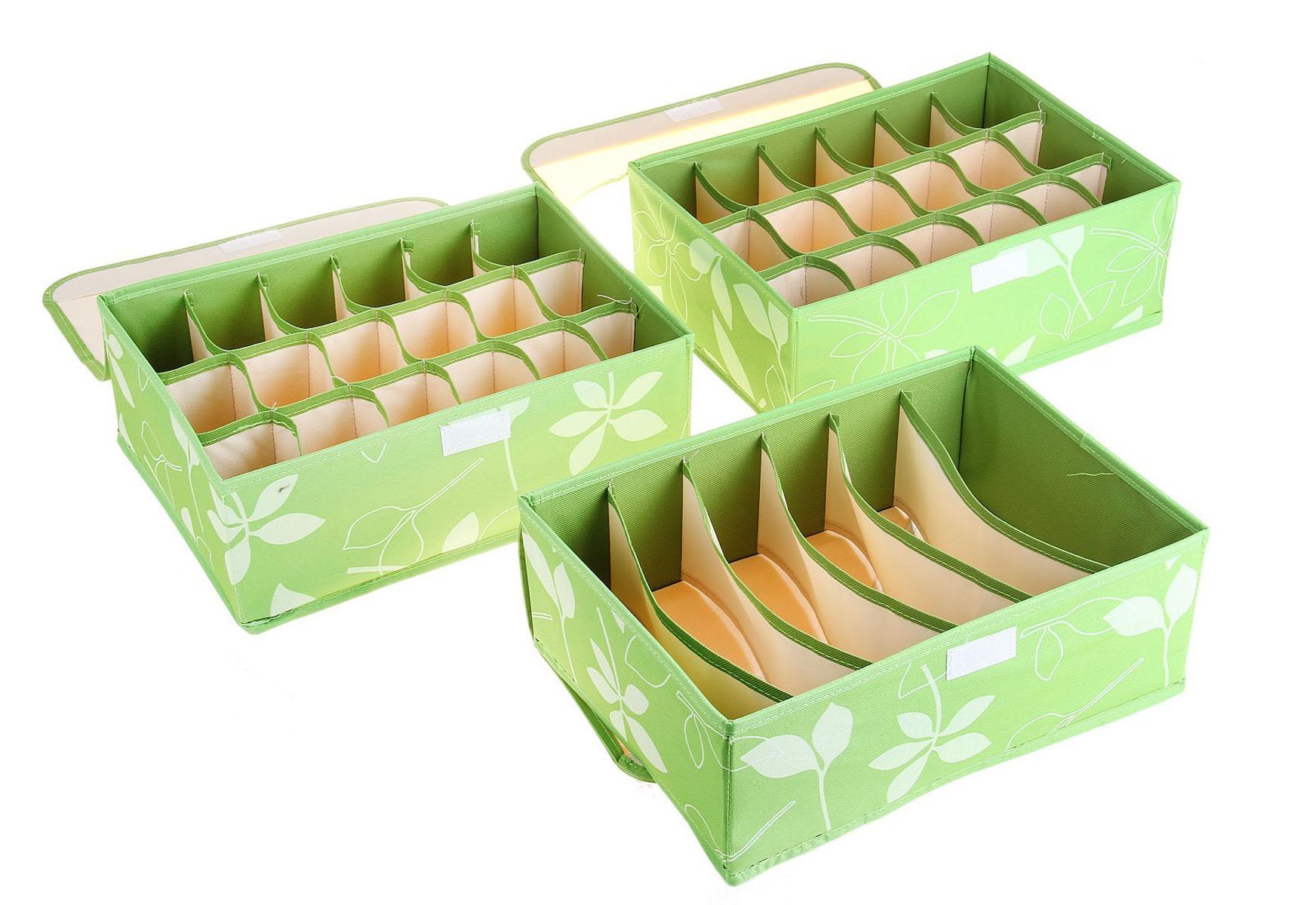 Кофр для мелких вещей Листочки, цвет: зеленый, 32 х 24 х 12 см, 3 шт. 760569760569