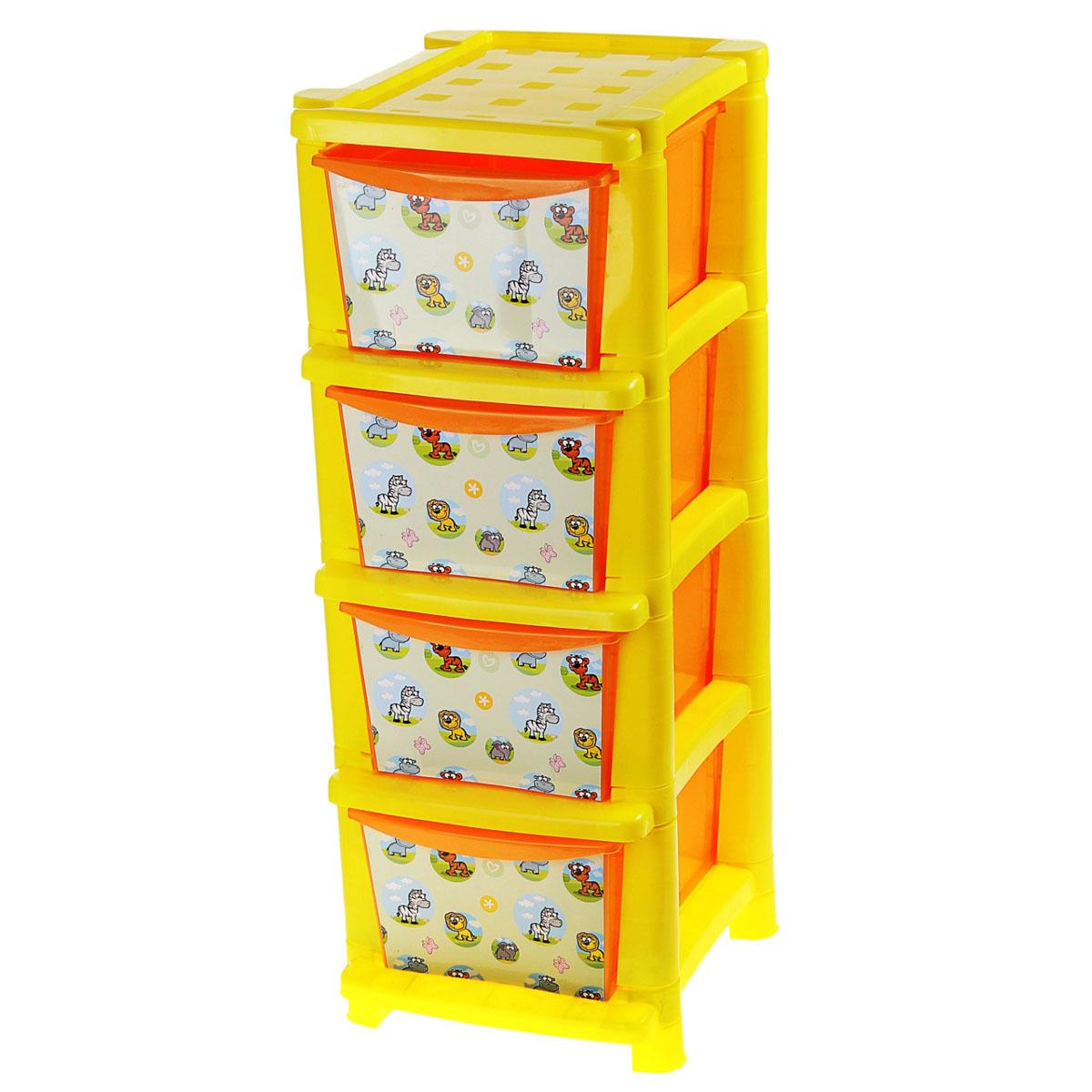 "Комод детский Plastic Centre ""Африка"", цвет: желтый, оранжевый, 33,5 х 41 х 86,7 см"