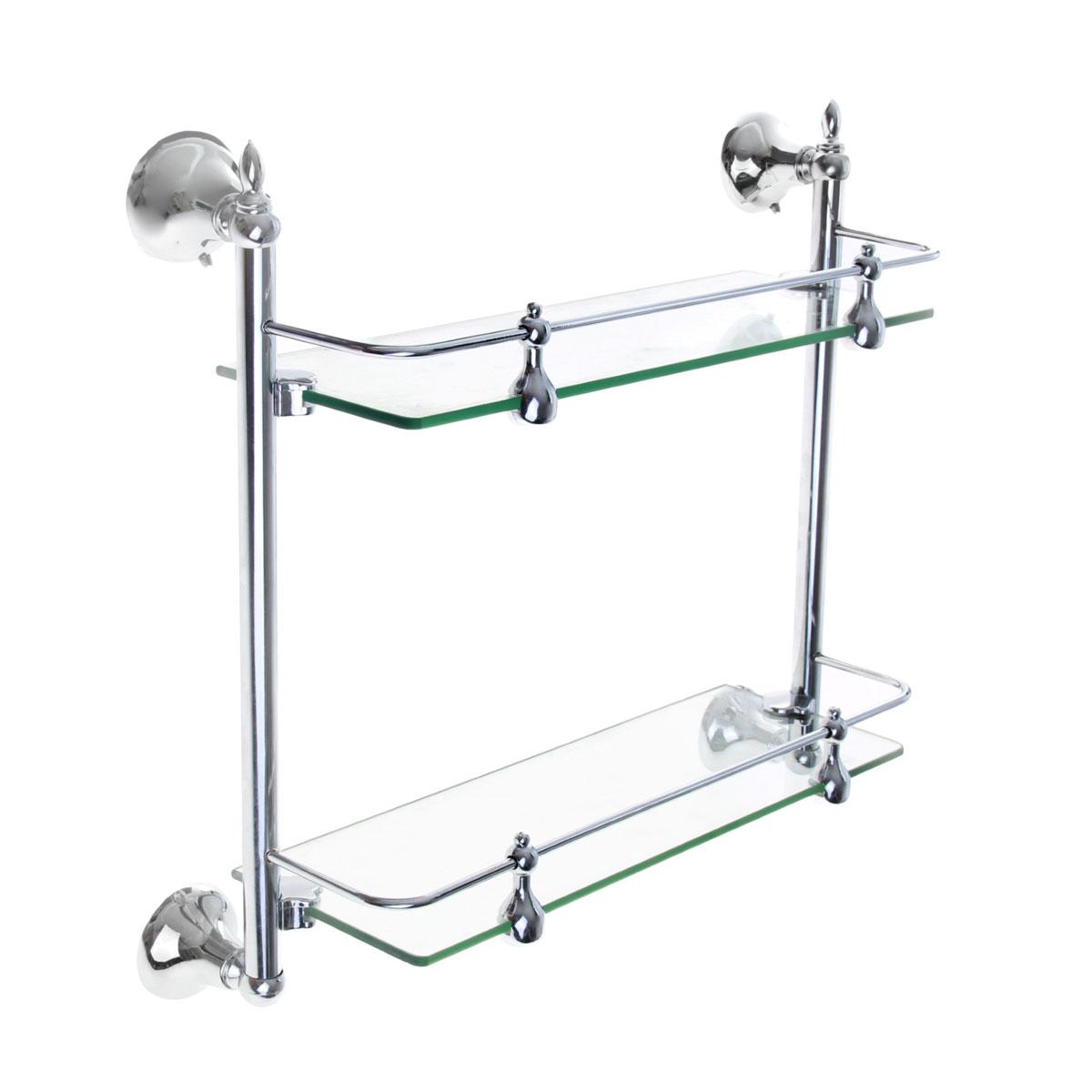 Полка для ванной комнаты Доляна, 2-х ярусная, 35 см х 12 см х 36 см855968Полка Доляна выполнена из стекла и высококачественного металла и предназначена для хранения вещей в ванной комнате. Полка состоит из 2-х ярусов прямоугольной формы. Она пригодится для хранения различных предметов, которые всегда будут под рукой.Благодаря компактным размерам полка впишется в интерьер вашего дома и позволит вам удобно и практично хранить предметы домашнего обихода.Удобная и практичная металлическая полочка станет незаменимым аксессуаром в вашем хозяйстве.Крепления входят в комплект. Размер полки (ДхШхВ): 35 см х 12 см х 36 см.