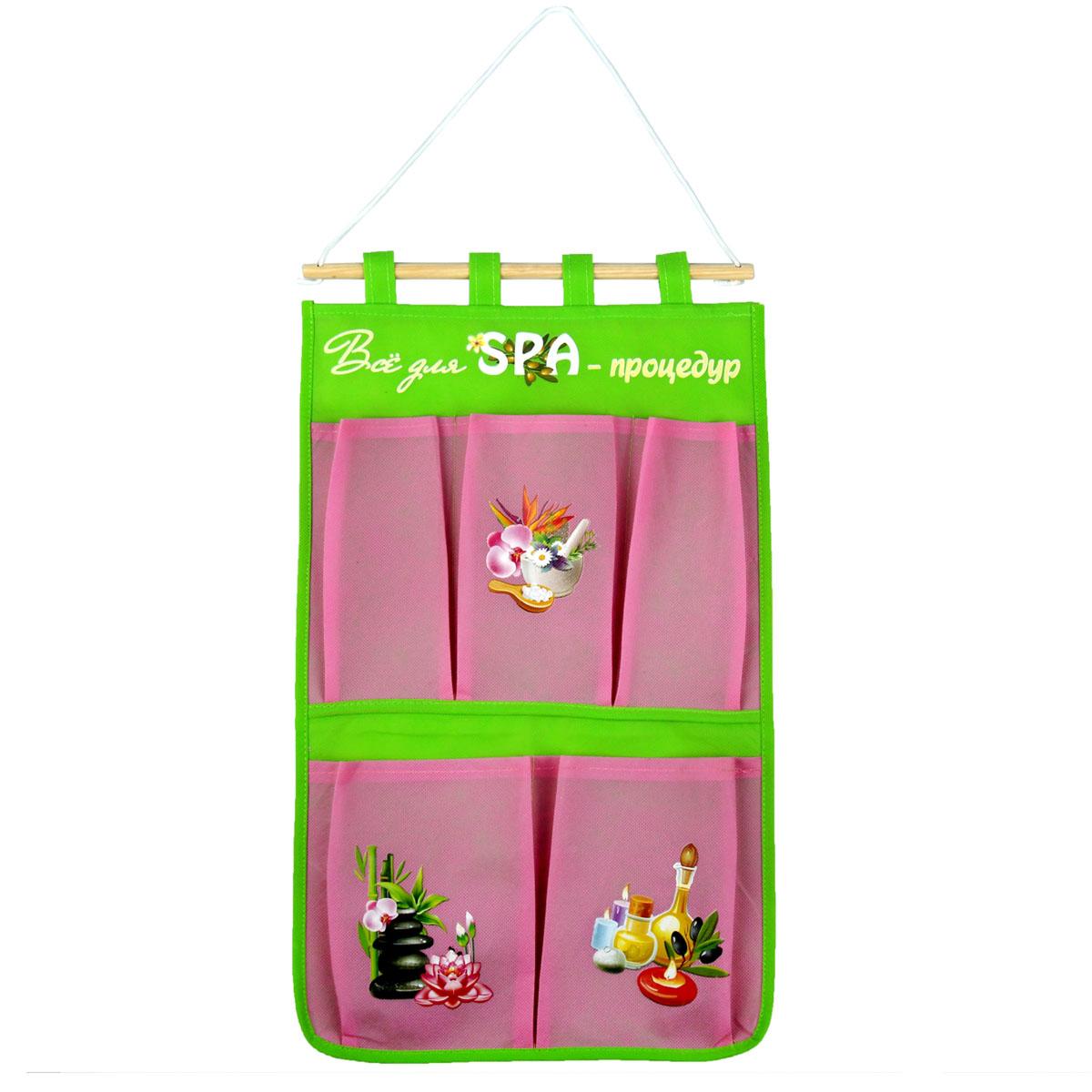 Кармашки на стену Sima-land Все для спа процедур, цвет: розовый, 5 шт
