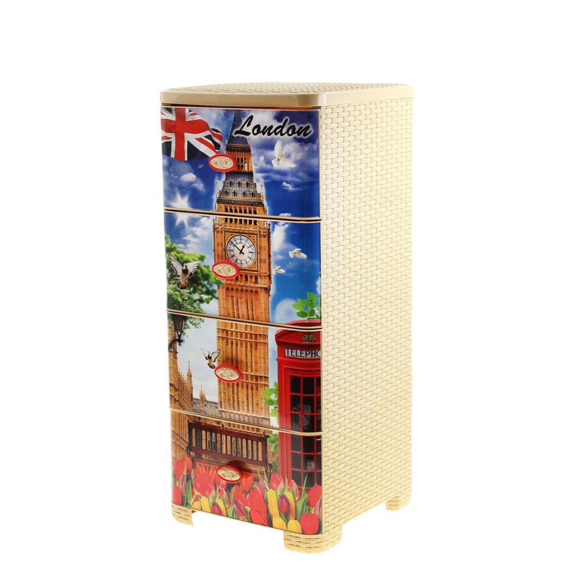 Комод плетеный Альтернатива Лондон, 36 см х 37,5 см х 80 см984575Комод Альтернатива Лондон изготовлен из высококачественного экологически безопасного полипропилена. Он предназначен для хранения вещей, детских игрушек, хозяйственных принадлежностей и прочих предметов. Комод состоит из четырех вместительных выдвижных ящиков с ручками и оснащен четырьмя ножками.Комод Альтернатива Лондон надежно защитит ваши вещи от загрязнений, пыли и моли, а также позволит вам хранить их компактно и с удобством. Размер ящика: 37 см х 30 см х 17 см.