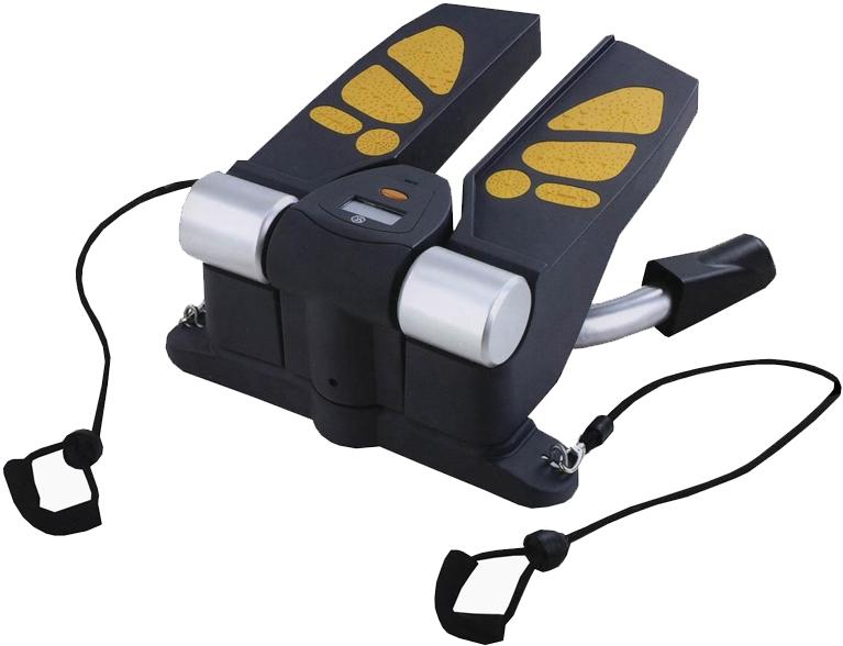 Министеппер поворотный Sport Elit, с эспандерами. SE-5115SE-5115Министеппер поворотный Sport Elit предназначен для выполнения упражнений, оказывающих влияние на форму мышц ног, бедер, ягодиц, а также талии, и группы мышц рук и спины. Позволяет укрепить и поддерживать в тонусе мышцы ног и внутреннюю поверхность бедра. Эргономичный дизайн подходит для занятий фитнесом в любом возрасте. Удобные педали выполнены из противоскользящего материала с яркими ставками оранжевого цвета в форме следа человеческой ступни.На этом министеппере можно выполнять следующие упражнения на мышцы ног и рук в сочетании друг с другом:— свободный шаг, — приседания,— движения тазобедренной частью,— упражнение для бицепсов,— упражнение для плечевого пояса,— упражнения для дельтовидных мышц,Ключевые преимущества:— Основа конструкции изготовлена из прочной стали,— Пластиковые детали выполнены из материала ABS,— Эспандеры для верхнего плечевого пояса,— Покрытие педалей: поливинилхлорид,— Министеппер с возможностью изменения нагрузки,— Мини-компьютер с дисплеем, измеряющий время тренировки, количество пройденных шагов, потраченные калории, количество шагов в минуту и функцией сканирования.Инструкция на русском языке прилагается.