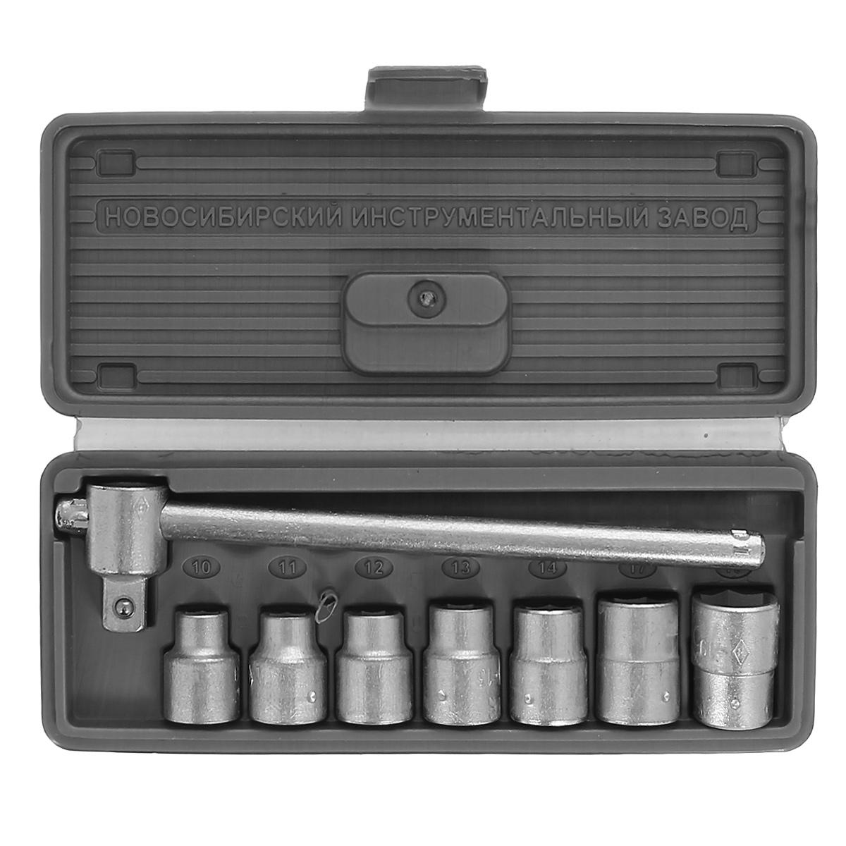Набор шоферского инструмента № 1 НИЗ, 8 предметов13440В набор входит 7 сменных головок 1/2 (10, 11, 12, 13, 14, 17, 19) и ключ с присоединительным квадратом 1/2.