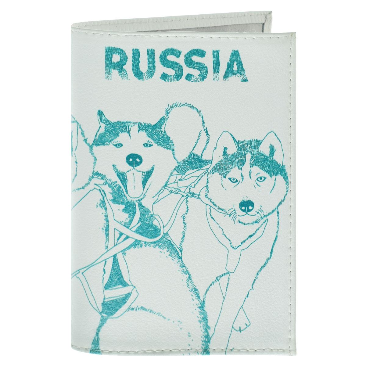 Обложка для паспорта Сибирские хаски. OK295