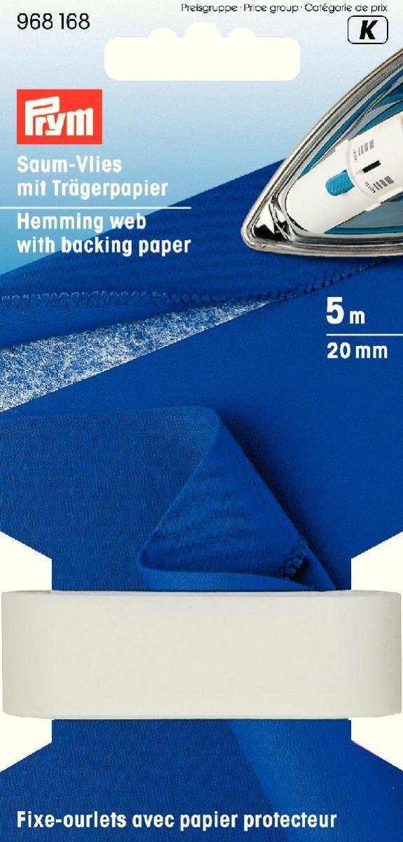 Лента флизелиновая Prym для подгибов, с бумажным защитным слоем, цвет: белый, ширина 2 см, длина 5 м