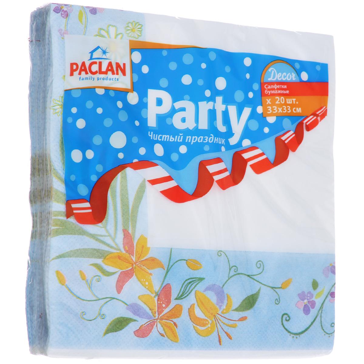 Салфетки бумажные Paclan Party. Decor, цвет: белый, голубой, трехслойные, 33 см х 33 см, 20 шт400119Трехслойные бумажные салфетки Paclan Party. Decor, выполненные из натуральной целлюлозы, станут отличным дополнением праздничного стола. Изделия украшены изображениями цветов. Они отличаются необычной мягкостью и прочностью. Салфетки красиво оформят сервировку стола. Размер салфеток: 33 см х 33 см. Количество слоев: 3 слоя. Количество салфеток: 20 шт.