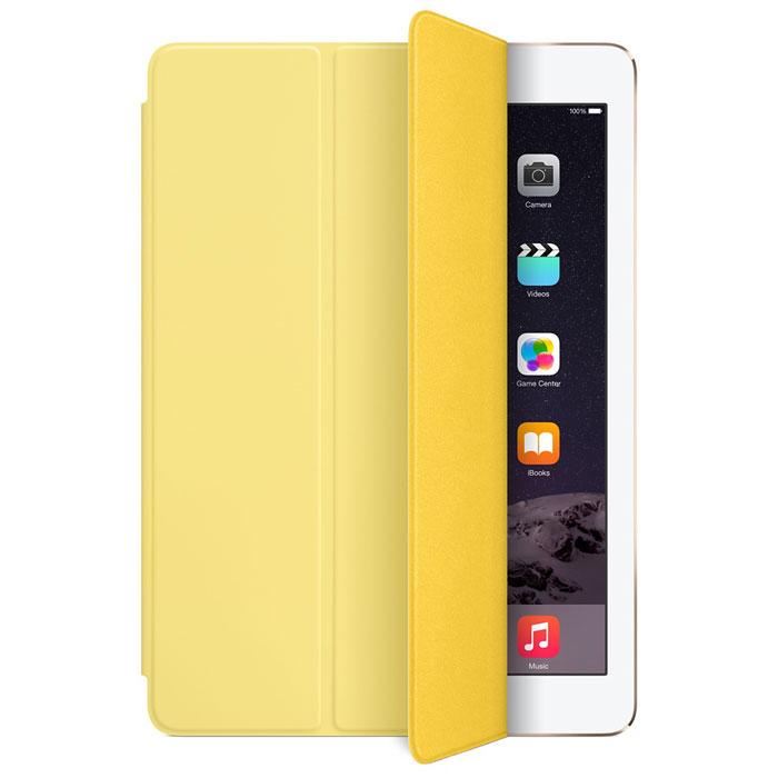 Apple Smart Cover чехол для iPad Air 2, YellowMGXN2ZM/AЛёгкая и прочная обложка Apple iPad Smart Cover полностью обновлена, чтобы соответствовать дизайну iPad Air 2. Она защищает дисплей планшета, не закрывая заднюю часть алюминиевого корпуса. Обложка изготовлена из мягкого прочного полиуретана и доступна в нескольких ярких цветах. А её мягкая подкладка из микрофибры того же цвета помогает поддерживать экран в чистоте. Крепление обложки идеально прилегает к корпусу планшета, а магниты надёжно удерживают её. При открытии чехла-обложки iPad Air автоматически выходит из режима сна, а при закрытии моментально возвращается в режим сна.Обложка Smart Cover может служить подставкой для набора текста. Сложите её, чтобы установить iPad Air 2 с удобным наклоном. Продуманная конструкция обложки Smart Cover также позволяет сложить её и превратить в идеальную подставку для общения в FaceTime и просмотра фильмов.