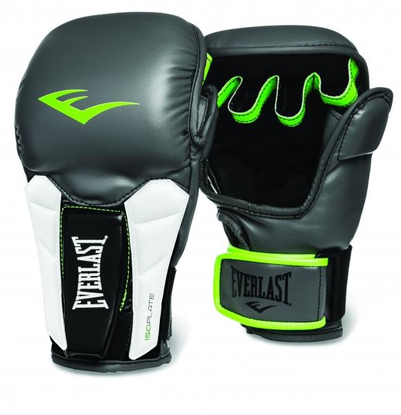 Перчатки тренировочные Everlast Prime MMA, цвет: серый, зеленый. Размер L/XLAIBAG1Everlast Prime MMA — универсальные тренировочные перчатки высшего класса, которые можно использовать как при работе на лапах, так и в спаррингах. Изготовлены из мягкой искусственной кожи высшего качества, способной выдержать самые интенсивные нагрузки. Вставки из пенного материала ISOPLATE в области запястий предотвращают возможные растяжения и обеспечивают поддержку, достаточную даже для профессиональных бойцов. Конструкция нового модельного ряда позволяет с одинаковым успехом оттачивать в этих перчатках не только традиционные удары, но и технику грэпплинга. Модель предназначена для бойцов высочайшего класса, а также быстро прогрессирующих любителей.