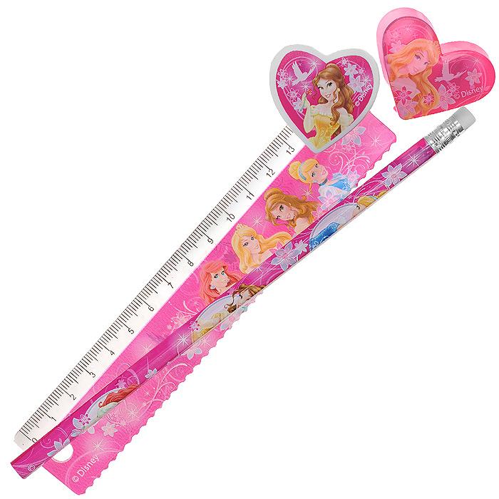 Канцелярский набор Disney Princess, 4 предметаPRAB-US1-5020-HКанцелярский набор Disney Princess станет незаменимым атрибутом в учебе маленькой школьницы.Он включает в себя незаточенный чернографитный карандаш с ластиком на конце, ластик, точилку в форме сердечка и пластиковую линейку 15 см.Все предметы набора оформлены изображениями принцесс из диснеевских мультфильмов.Не рекомендуется детям до 3-х лет