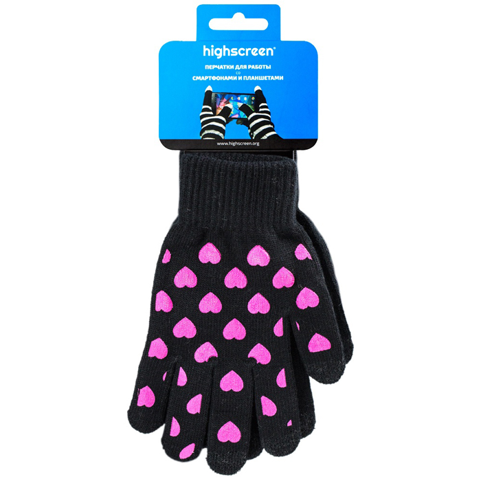 Highscreen Heart Series перчатки для сенсорных экранов, Black (ID03-131BLK) highscreen black box connect цена