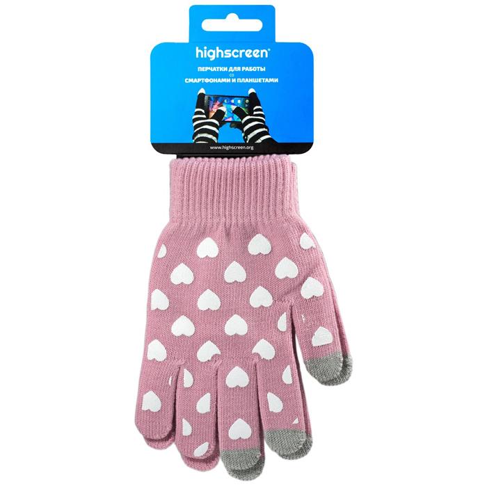 Highscreen Heart Series перчатки для сенсорных экранов, Pink (ID03-131pink)22316Перчатки Highscreen Heart series - специально предназначены для работы со смартфонами и планшетами в холодное время года. Кончики пальцев прошиты по специальной технологии, что позволяет работать с сенсорными экранами, не снимая перчаток. Универсальный размер, дизайн подходит для женщин.