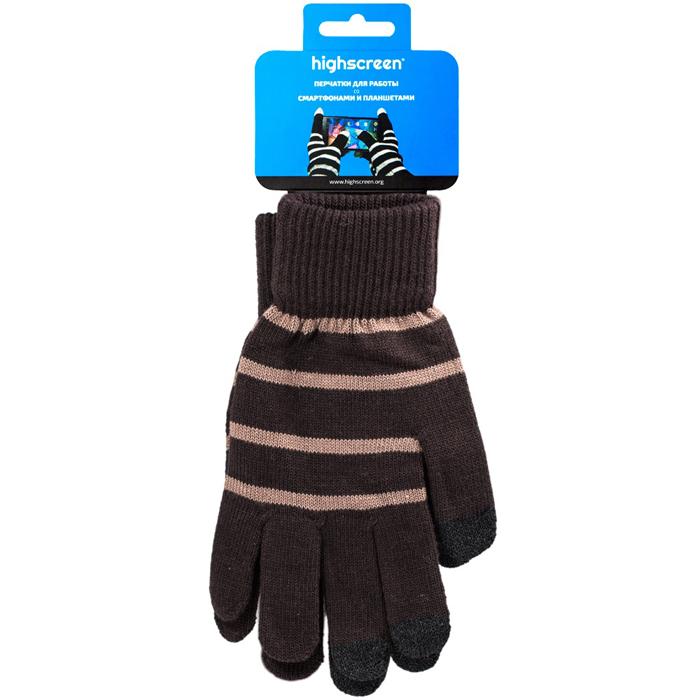 Highscreen Stripe Series перчатки для сенсорных экранов, Brown (ID03-100BRN)22325Перчатки Highscreen Stripe Series - специально предназначены для работы со смартфонами и планшетами в холодное время года. Кончики пальцев прошиты по специальной технологии, что позволяет работать с сенсорными экранами, не снимая перчаток. Универсальный размер, дизайн подходит как для женщин, так и для мужчин.