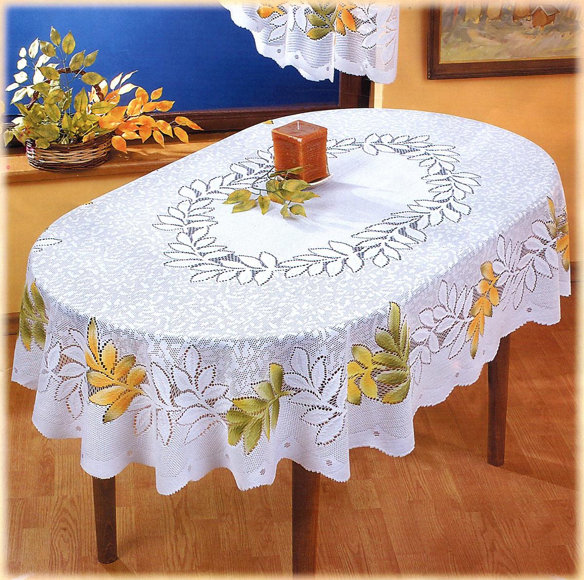 Скатерть Wisan Julian, овальная, цвет: белый, 140  x 210 см скатерть овальная 220х150см цвет бежевый