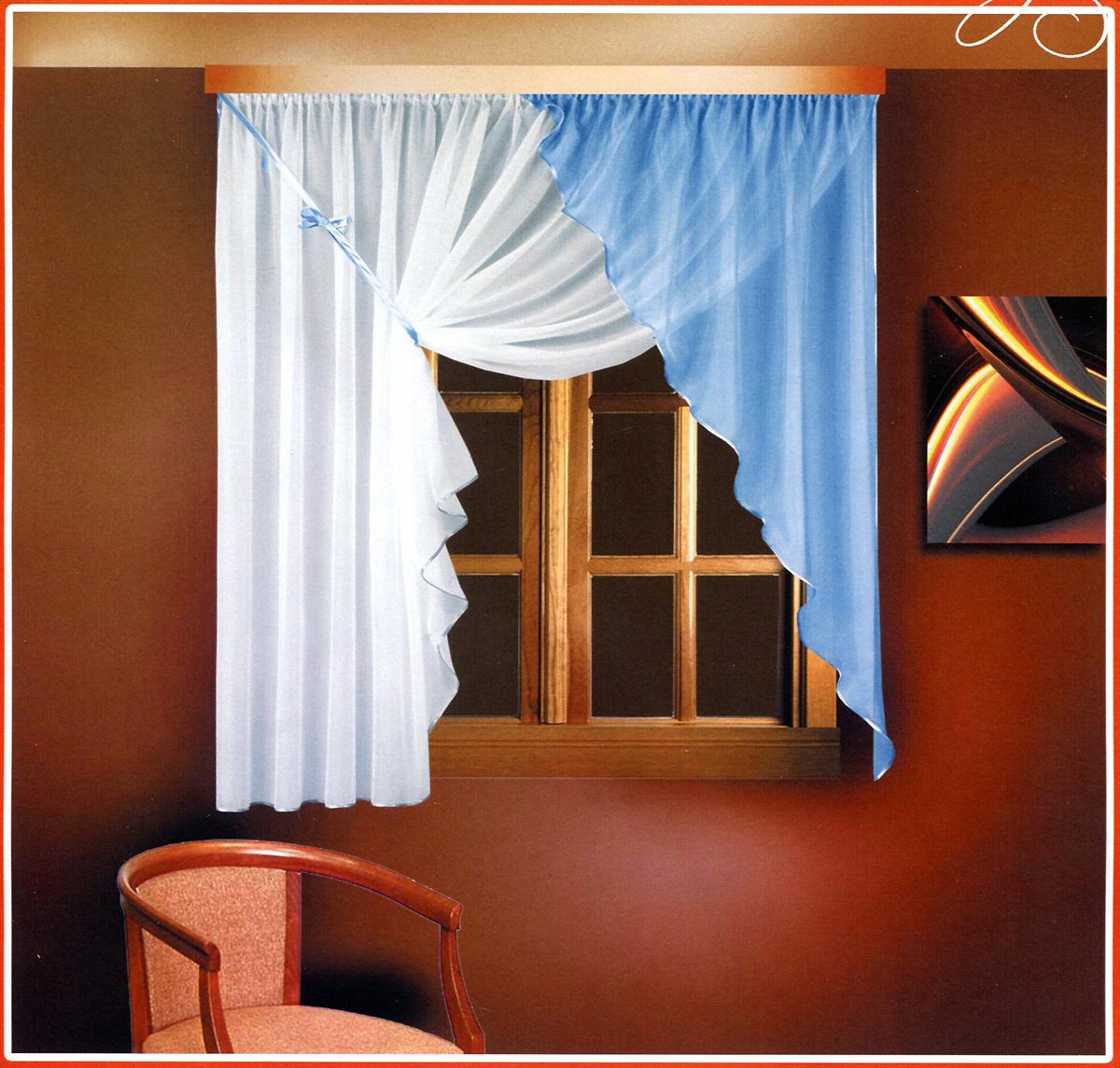 Комплект штор для кухни Zlata Korunka, на ленте, цвет: белый, голубой, высота 160 см. Б025Б025 голубой