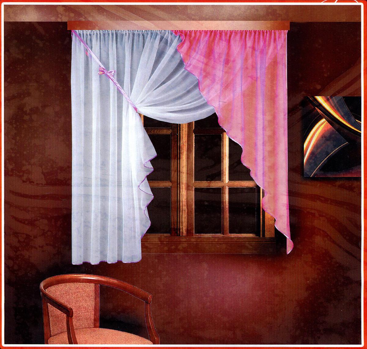 Комплект штор для кухни Zlata Korunka, на ленте, цвет: белый, розовый, высота 160 см. Б025Б025 розовый