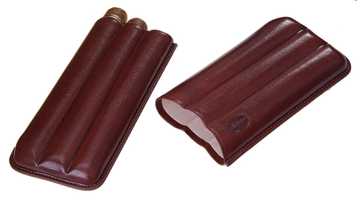Портсигар Jemar, для 3 сигар диаметром 2,1 см. 711951Натуральная кожаЭлегантный портсигар Jemar выполнен в виде футляра изнатуральной кожи. Изделие рассчитано на 3 сигары.Футляр для переноски сигар - неотъемлемая составляющая церемониала курениясигар, очень важная деталь, которая привносит в процесс особый шик.Портсигар Jemar послужит прекрасным подарком для тонких ценителей техсамых небольших мелочей, которые придают имиджу неповторимую изысканностьи индивидуальность вашей жизни.Размер портсигара: 16,5 см х 7,5 см х 2,5 см.Диаметр отверстия для сигары: 2,1 см.