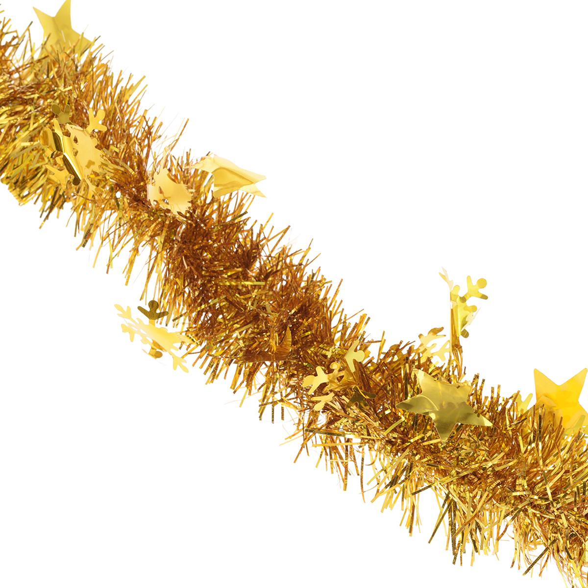 Мишура новогодняя Magic Time, диаметр 6 см, длина 200 см, цвет: золотистый. 3487034870